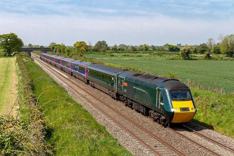 15th May 2019:  The 07.41 from Penzance to Paddington is on time as heads up the Berks & Hants line through Edington near Westbury.  1A81 has 43093 'Old Oak Common' on the front.  The livery celebrating the 100 years of OOC opperations can be difficult to picture but I have managed to get it to show somehow on this occasion