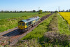 12th May 2019: 66955 Started from Didcot East Junction at 07.12 108 minutes early and is stll 108 minutes early as it passes through Edington on it's way to Westbury