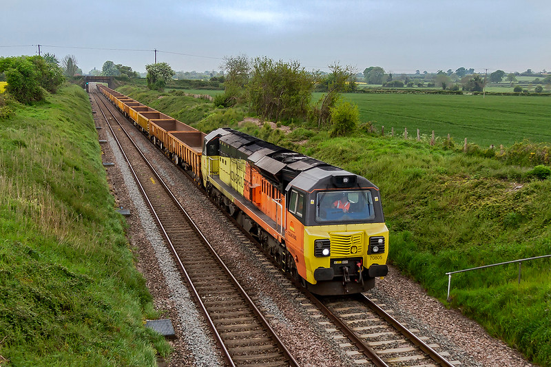 11th May 2019:  70805 is powering 6C24 the 10.27 from Westbury to Abbotswood Junction via Reading and Swindon.Pictured at Lambourn Lan inEdington