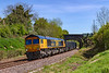 13th May 2019:  Passing under the `Wolfhall Road bridge at Crofton is 66724 'Drax Power Station' bringing 6V42 from Wellingborough to Whatley Quarry.  with empty boxes for a refill.