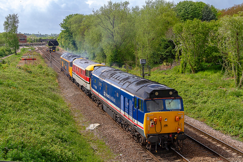 8th May 2019:  50026 'Indomitable' is at the rear of 0Z50 powered by 50007 'Hercules' and with 97205 (31163) in the middle.  The convoy is going to Swanage from Kidderminster with locos for the Diesel Gala