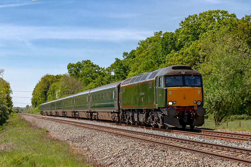 14th May 2019:  57304 'Pendennis Castle leading 5M40 from Penzance to Reading Triangle Sidings is nearing Fairwood Junction at Westbury.  This is bringing the Sleeper stock back to base after an earlier problem prevented it's use on the previous night's service.  57303n is on the other end.