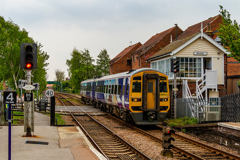 1st May 2019:   Arriving at Beverely is 158905 that is working to Scarborough as 1G17 the 13.30 from Hull
