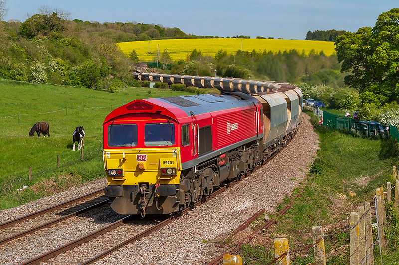 13th May 2019:  By the end of the year this shot will no longer be possible because the 592 will have moved away.  6V18 usually starts  from Allington in Kent but today it came from Acton.  Pictured in the hands of 59201 as it nears Grafton East Junction