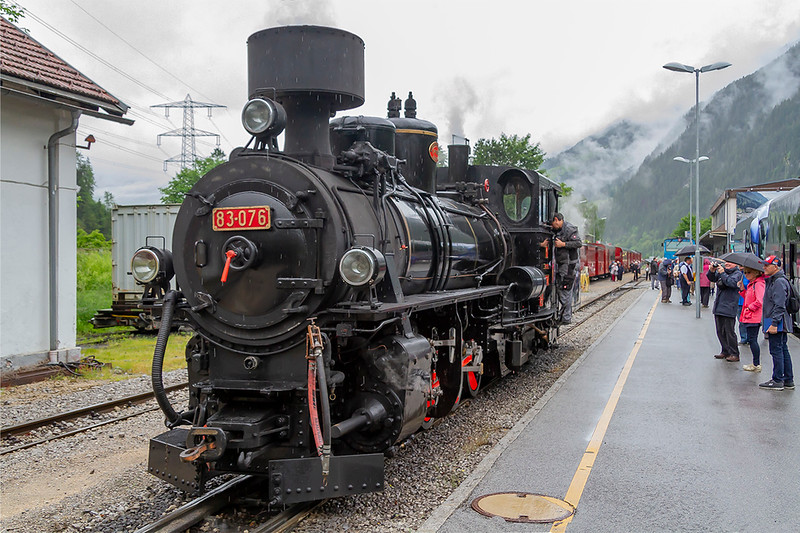 29th May 2019:  83-076 at Mayrhofen on the  Zillartalbahn 760mm guage railway on a very wet day