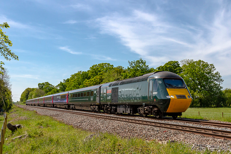 14th May 2019:   43093 'Old Oak Common'  is showing it's side graphics  which some times cannot be seen if the light is in the wrong place.  1A87 left Plymouth at 12.55 and is right time as it gets to Masters Crossing near Fairwood Junction