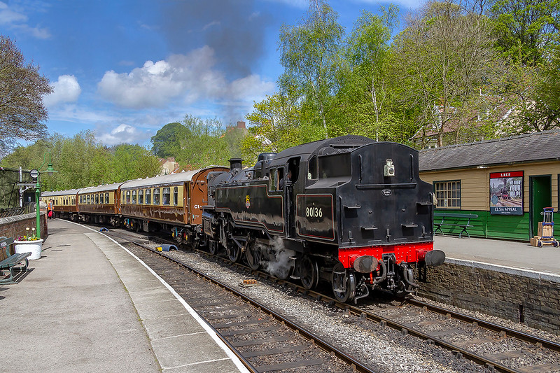 2nd May 2019:  Arriving at Pickering on the North Yorkshire Moors Railway is BR standard 2-6-4 Tank engine 80136.  The station staff told me that it was going to be boiler leading …….. if only !