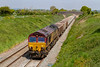 15th May 2019:  66181 on 6C58 from Oxford Banbury Road Siding to Whatley Quarry is passing through Edington