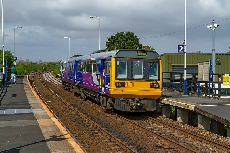 4th May 2019: 2D30 in the hands of 142024 started from Darlington at 11.18 and at 12.05 it is departing from Longbeck with only a stop at Marske before it gets to the end of the passenger line at Saltburn