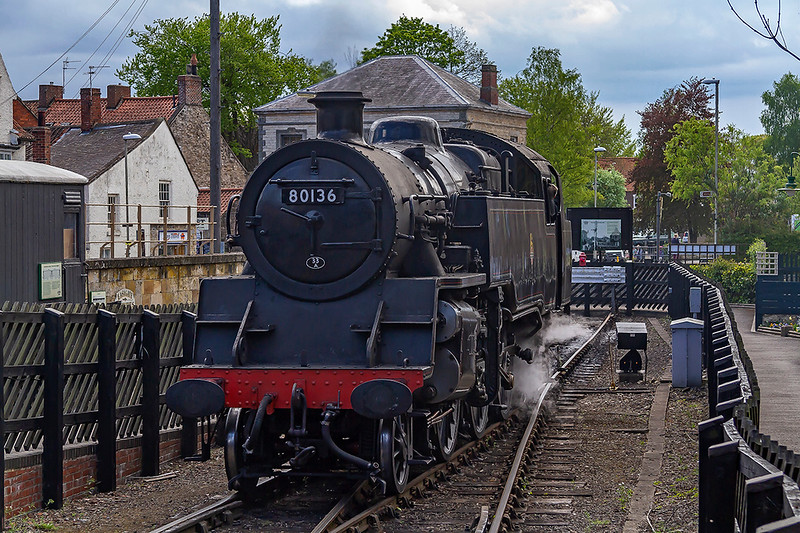 2nd May 2019:  80136 moves into the Head shunt at Pickering.   It is hard to believe that originally two tracks here that headed south to a three way junction to Seamer, York and toGilling.  The 33A shed plate shows the loco being shedded at Plaistow in London for it to work the Fenchurch Street to Shoeburyness services