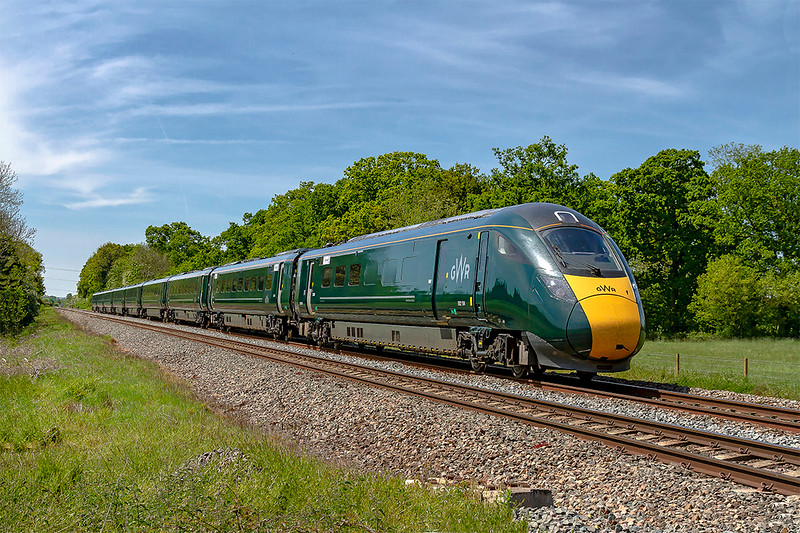 14th May 2019:  802104 is nearing Masters Crossing, that is just west of Fairwood Junction, with 1A83 the 11.32 from Paignton to Paddington