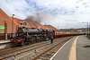 5th May 2019:   LMS Black 5  5428 now named 'Eric Treacy'  has just arrived at Whitby from Pickering.  One of the crew has uncoupled the loco and is on his way to operate the points so the the loco can run round the coaches.  It had started from Pickering at 11.30 and will start the return trip at 14.00