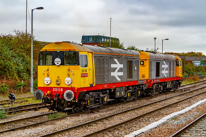 14th Nov 2019:  20118 'Saltburn by the Sea' and 20132 'Barrow Hill Depot' are waiting to return to Willesden 'f' Sidings as 0Z21 and then on to Chaddesden.  They had arrived the previous evening with some HOBC vehicles which were left in the Up Yard sidings.  There were many out to picture this very rare occurrence as it has been about 30 years since any 20s were last here.