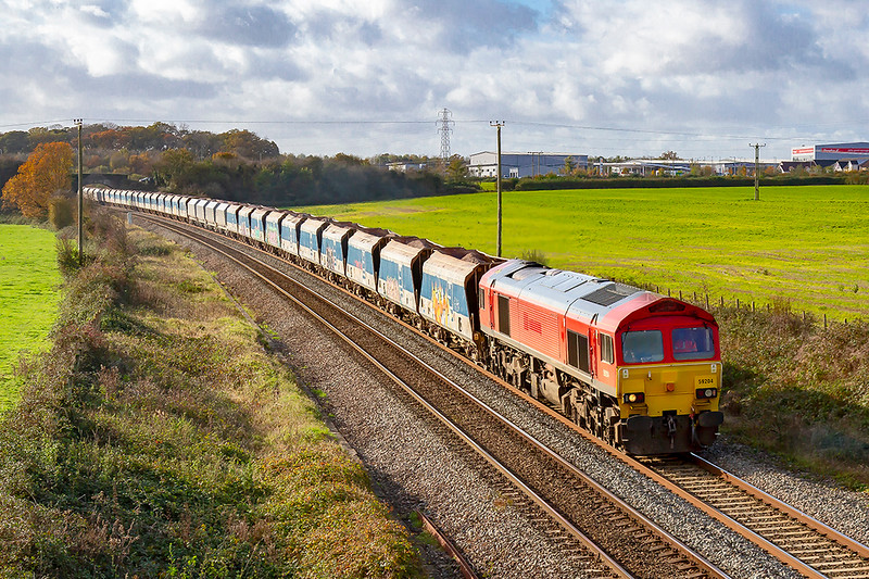 11th Nov 2019:  7A17  running from Merehead to Colnbrook has 59204 providing the urge as it runs through Berkley Marsh near Clink Road Junction in Frome.  Ther DBC 59s are now owned by a finance compant and are leased to Freightliner.and the DB Schenker branding has been removed.
