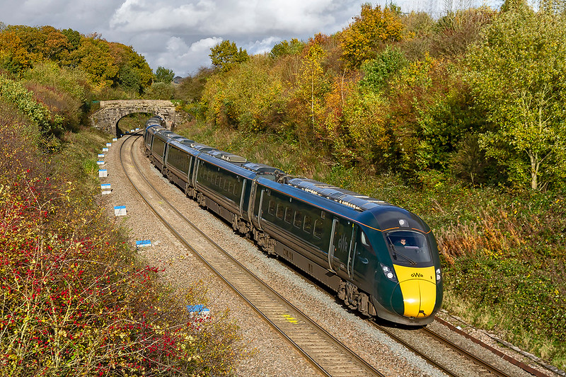 4th Nov 2019:  In the hands of 802002 and 802008  is iC82 the 13.03 from Paddington to Plymouth.  It started 12 minutes late and  had gained 2 minutes when it passed me at Clink Road in Frome but could not make any further gais on the journey