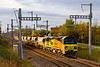 13th Nov 2019:  Colas 70805 with two sets of JJA auto ballasters and a big crane  is at South Marston as  it works to Hinksey  from Castle Cary