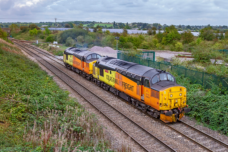 5th Oct 2019:  37219 'Jonty Jarvis' and 37116 are working  as 0Z37 from Derby RTC to Westbury.  Pictured at Hawkeridge Junction ithey only  have 1/4 mile to go before entering the Up Yard. Why bother I hear you say, well I thin that 37s are always worth the effort.