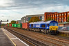 16th Oct 2019:  66090 'Maritime Intermodal Six' draws into Eastleigh Station for a crew change as it wotks 4M71 to Birch Coppice from Southampton Western Docks.