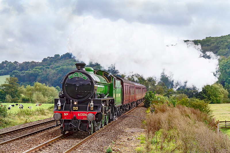 """5th Oct 2019:  Charging through the Avon Valley at Freshford is  LNER B1 61306 'Mayflower' heading 1Z85 the  """"Steam Dreams' express from Horstead Keynes on the Bluebell Line to Bath Spa"""