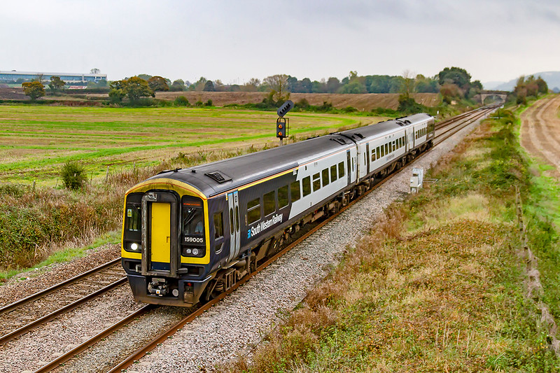 23rd  Oct 2019:  159005 heading towards Fairwood Junction as it works 1V35 that started from Waterloo at 12.50 and is going to Yeovil Pen Mill: