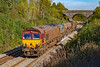 22nd )ct 2019:  Shortly after they  started from Westbury 66060 TnT with 66068 and the RHTT are captured they run along the Frome Avoider.  Pictured from the Styles Hill foot Bridge 3J13 is going to Par, near St Blazey, in Cornwall