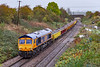 26th Oct 2019:  66735 'Peterborough United' on the tail of 6G82 going to Crediton from Westbury at Hawkeridge Junction with 66741 providing the grunt.