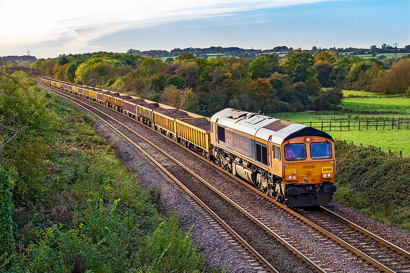 27th Oct 2019:  66782 'Charity Railtours' catches late afternoon sunlilight at Fairwood as it brings 6G80 from Crediton back to Westbury