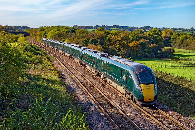 27th Oct 2019: 1A83 is the 09.45 from Penzance to Paddington is in the hands of 802110 captured as it runs between Fairwood Junction and Westbury Station. This snap completes my set of the 8021s