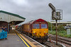7th Oct 2019:  In Platform 3 at Westbury 66068 will be leading when 3J42 returns to Didcot via the Berks & Hants line