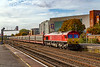 16th Oct 2019:  With a very short rake of empty car carriers 66124 hreads 6M48 from Southampton Eastern Doocks to Halewood through Eastleigh Station where there will be a crew change
