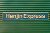 4th Oct 2019:  The name plate of Freightliner 66533 'Hanjin Express.  The other side plate is 'Senator Express'.