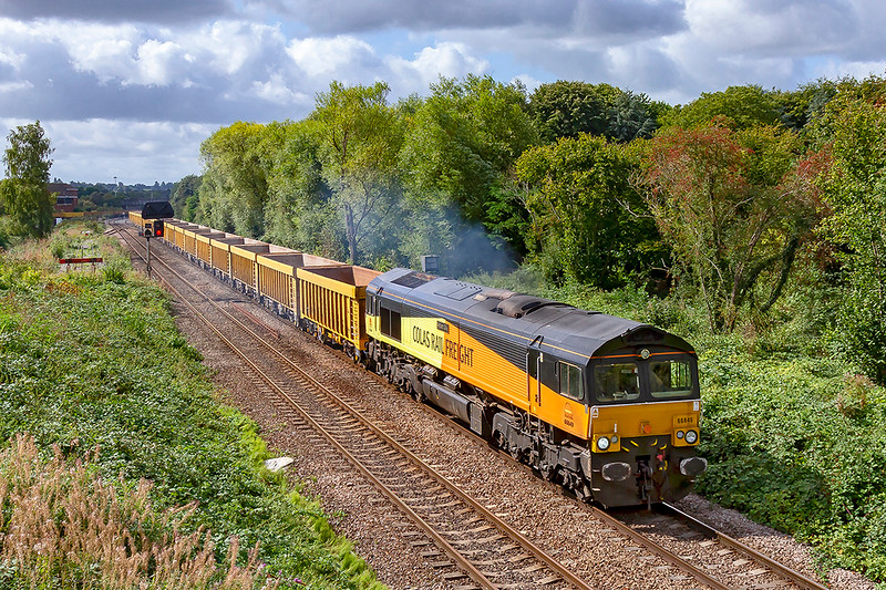 4th Sep 2019:  Getting away from Westbury with 6M40 to Stud Farm is 66849 'Wylam Dilly'.  A lucky shot because as the train approached the signals at Hawkeridge the whole area was in shaddow.