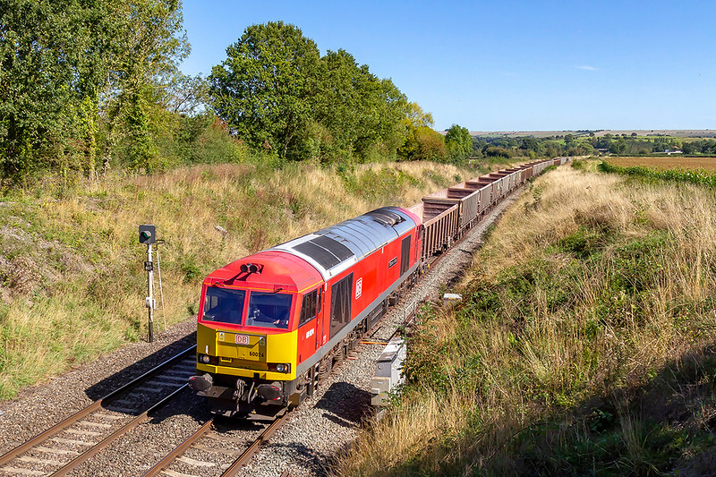 13th Sep 2019:  Running just a few minutes late is 60024, that is on the point of 6C58 the 11.45 11.45 from Oxford Banbury Road Siding to Whatley Quarry, as it passes under Witchcombe Lane in Great Cheverell.  This is my first picture of a 60 at this place  and with the impending change to Freightliner for the stone traffic it may be the last chance.
