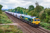 10th Sep 2019:  With 20 empty PJAs in tow 66620 accellerates away from Hawkeridge Junction as it heads 6M36 from Westbury Lafarge to Tunstead.