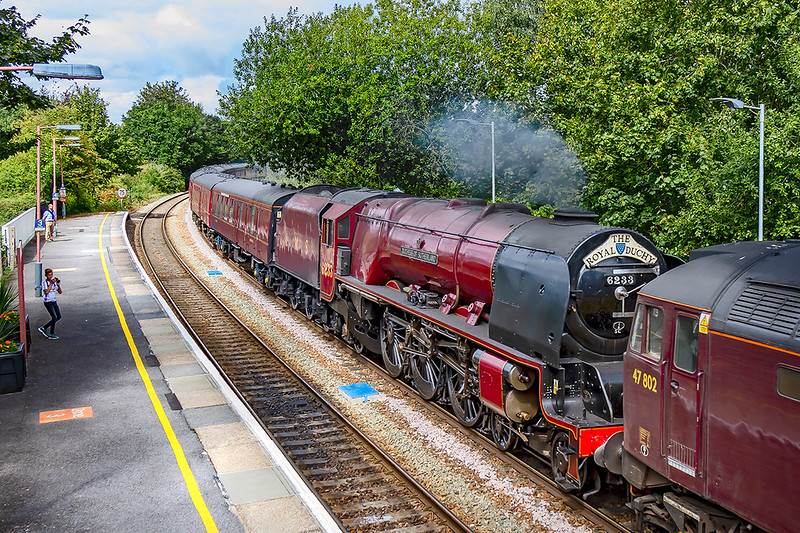 2nd Sep 2019:  Rounding the curve into Warminster Station is 5Z87 working from   Saint Phillips Marsh to Southall WCR.  47802 is leading  6233 'Duchess of Sutherland' and the  ECS from the week end Bristol to Kungswear tour.