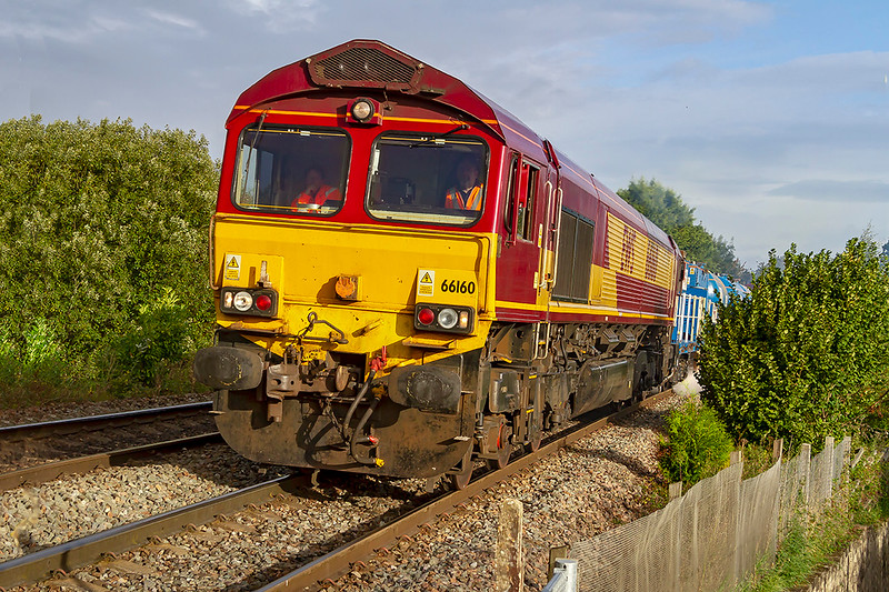 27th Sep 2019:  The first active RHTT of the season from Westbury is powered by 66160 & 66186.  3J13 started 3 minutes early on it's journey to St Blazey LIP the first leg of which goes to Salisbury and back.  Pictured here at climbing through Dilton Marsh just before the sun vanished.