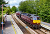 2nd Sep 2019:  Rounding the curve into Warminster Station is 5Z87 working from   Saint Phillips Marsh to Southall WCR.  47802 is leading 'Duchess of Sutherland' and the  ECS from the week end Bristol to Kungswear tour.