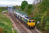 30thb Sep 2019:  0Z42 the 10.30 Freightliner light engine move to Stoke Gifford ifrom Westbury is actually running 50 minutes late as it crosses Hawkeridge Junction.  66518 is towing 66601 & 66956.  If it had been on time I would not have seen it.