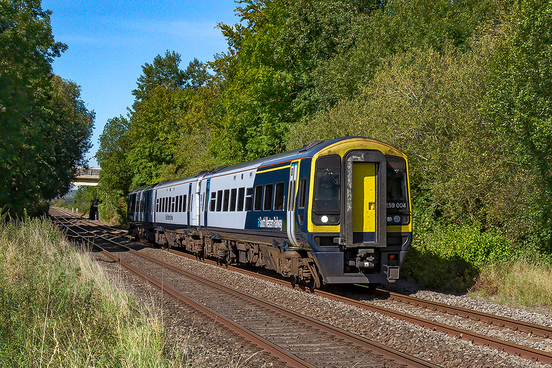 14th Sep 2019:  Belting along the line through the Wylye Valey is 159004.  1O40 started from Frome at 10.30 and will get to Waterloo 1 minte late at 13.50