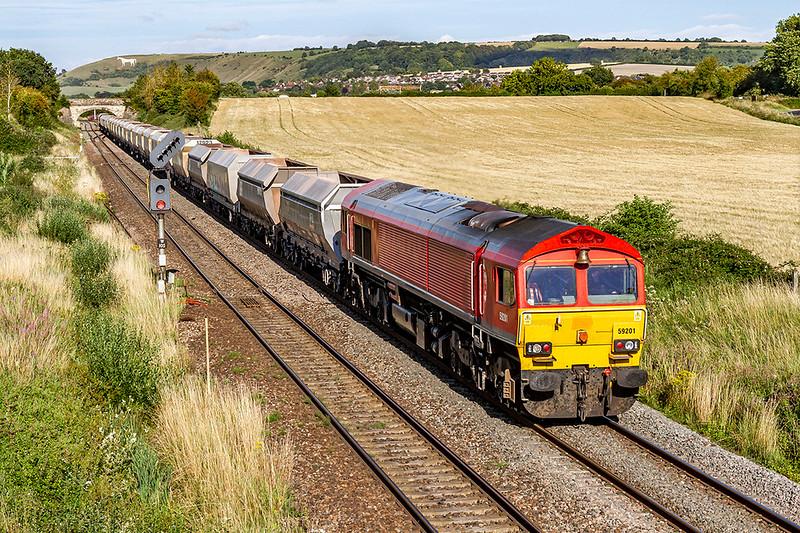 1st Jul 2020:  59201 working 6V28 from Dagenham Dock to Whatley through Fairwood