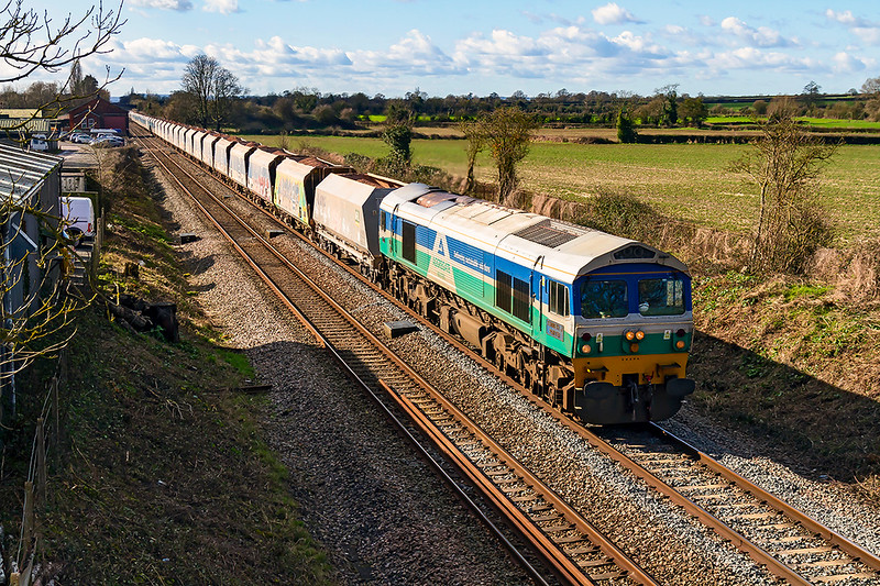 27th Feb 2020:  59004 at the head of 7A77 from Merehead to Theale is passing through the site of Edington & Bratton Station