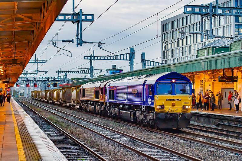 19th Feb 2020:   At 5.22pm 66051 'Maritime International Four'. & 66079 run through Cardiff Central as they work 6Z46 from Margam to Middlesborough Dawson Ayton.