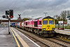 28th Feb 2020:   I only went to Westbury station for something to do and I had no idea  what would turn up on the Wentloog..  I was very pleased to see that it was 66587 'As One We Can' in the 'ONE' pink scheme powering 4O57 to Southmpton Maritime