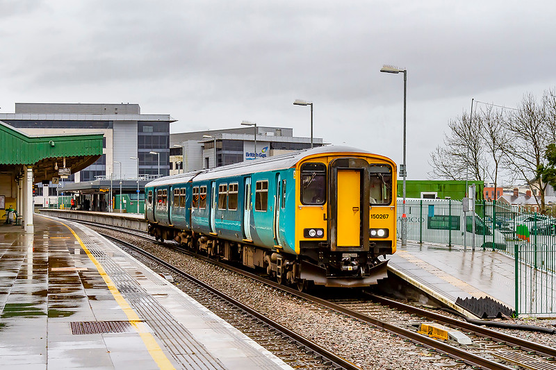 19th Feb 2020:  2P65 is the 14.32 from  Bargoed to Penarth today in the hands of 150267..  Pictured leaving Platform 8 at Cardiff Central