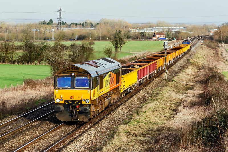 14th Feb 2020:  Colas pair 66850 & 66847 are nearong Hawkeridge Junction as they work 6C64 from Abercynon to Westbury