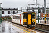 19th Feb 2020:  On a truly horible afternoon 153306 enters Platform 6 at Cardiff Cetral as it works 2C33 fron Radyr to Coryton.  At least the livery matches the reflections