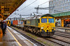 19th Feb 2020:  Running through the Cardiff Central station is 66543 at the helm of 4B49 from Dow Chemicals at Barry Docks to Wentloog container Terminal