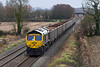 31st Jan 2020:  On a dull and windy afternoon 66598 is captured on the long straight through Edington on the Berks & Hants line.  It is working 6C58 from Oxford Banbury Road to Whatley Quarry..  Why bother you may well ask!  Well I  like watching trains and to get a picture is a good reason for going out.