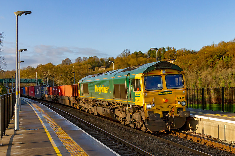 15th Jan 2020:  Now a regular through the Avon  Valley in the afternoon  is 4O57 from Wentloog to Southampton Maritime.  Today powered by 66546 it is pictiured at Freshford.