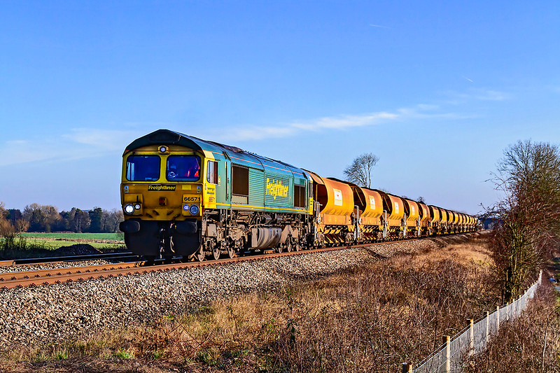 19th Jan 2020:  Top 'n Tailed by 66571 and 66610  the Auto ballasters are pictured as they run over the site of the Fairwood water troughs.  Thw working is 6Y42 from Westbury to Frome North